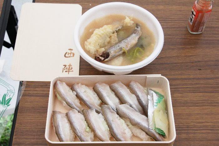 シシャモ寿司とシシャモ汁